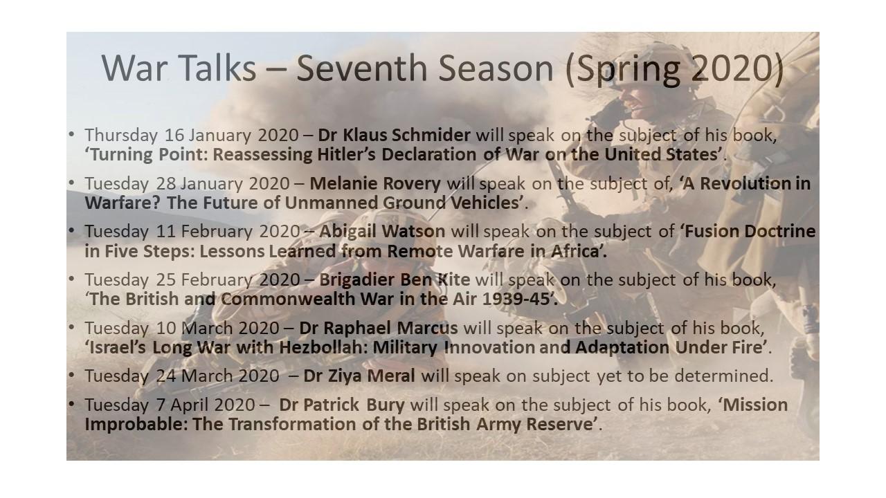 20191201-War Talks – Seventh Season (Jan - Mar 2020)